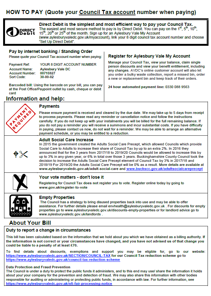 Image link to PDF file on how to pay your council tax bill.