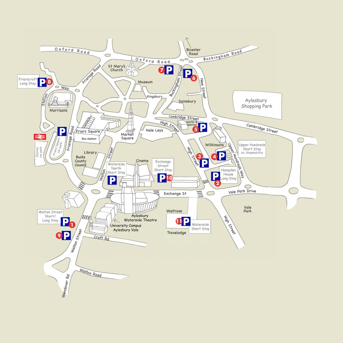 Map of car parks in aylesbury avdc for Location parking