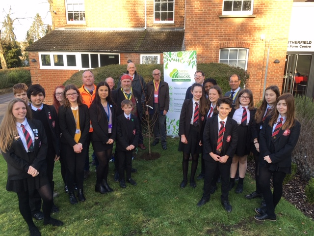 Student members of Royal Latin School's Green Touch Team support launch of Green Schools Fund