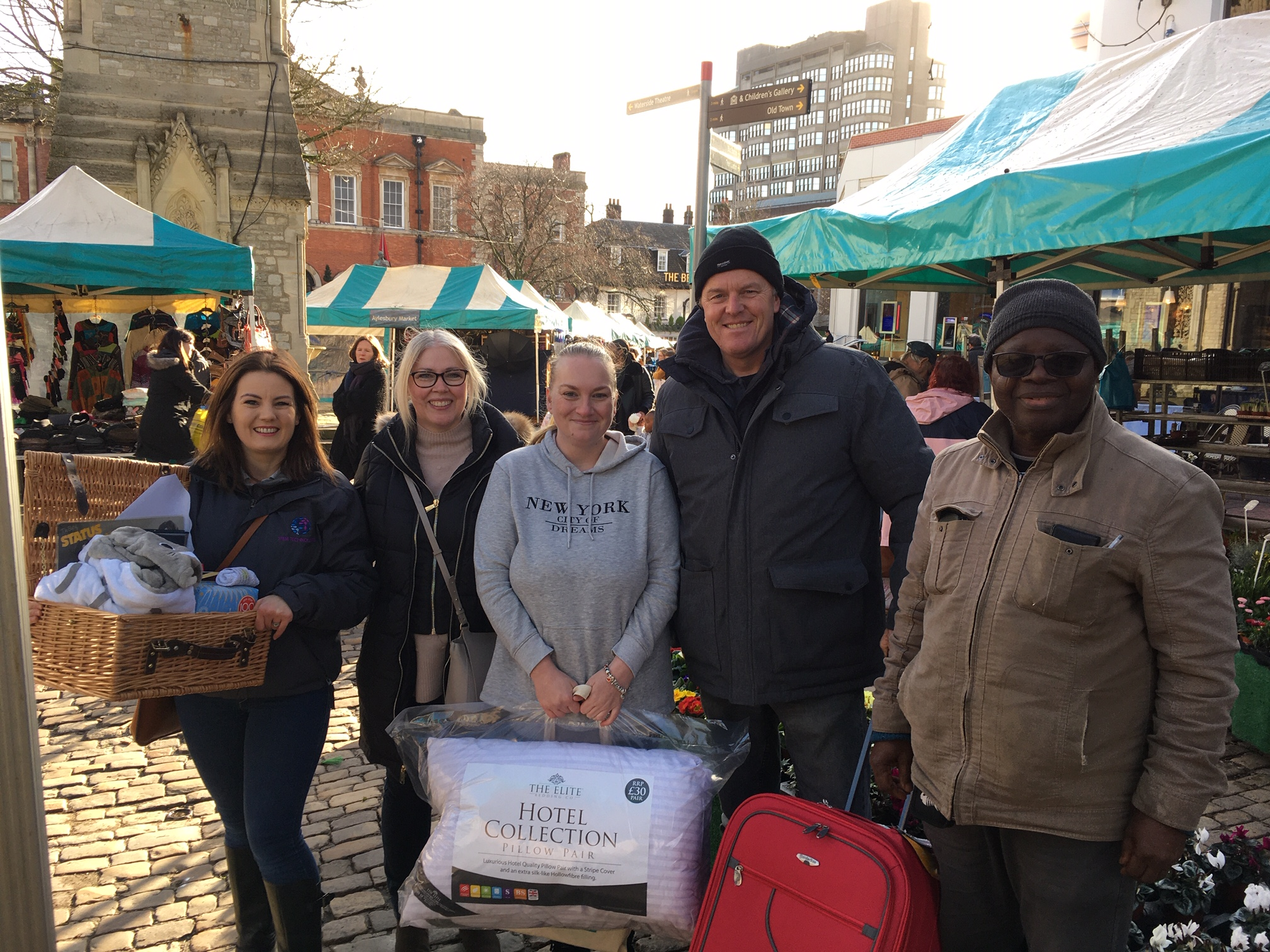 picture shows: Tamara, Cllr Julie Ward, Emma, Nigel the bag man and Dilly of Divine Meals