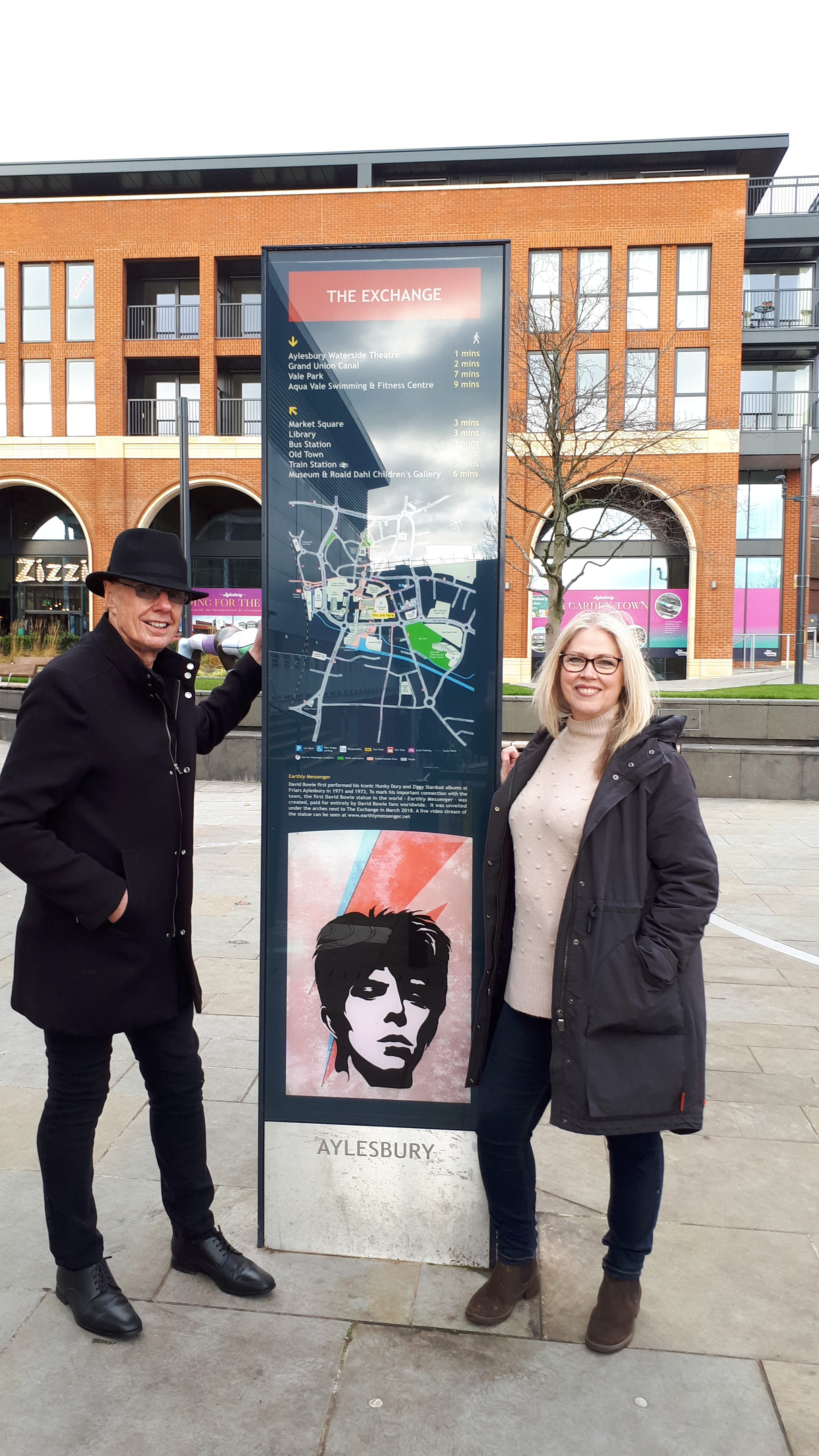 David Stopps and Cllr Julie Ward at eh the information pillar by The Exchange