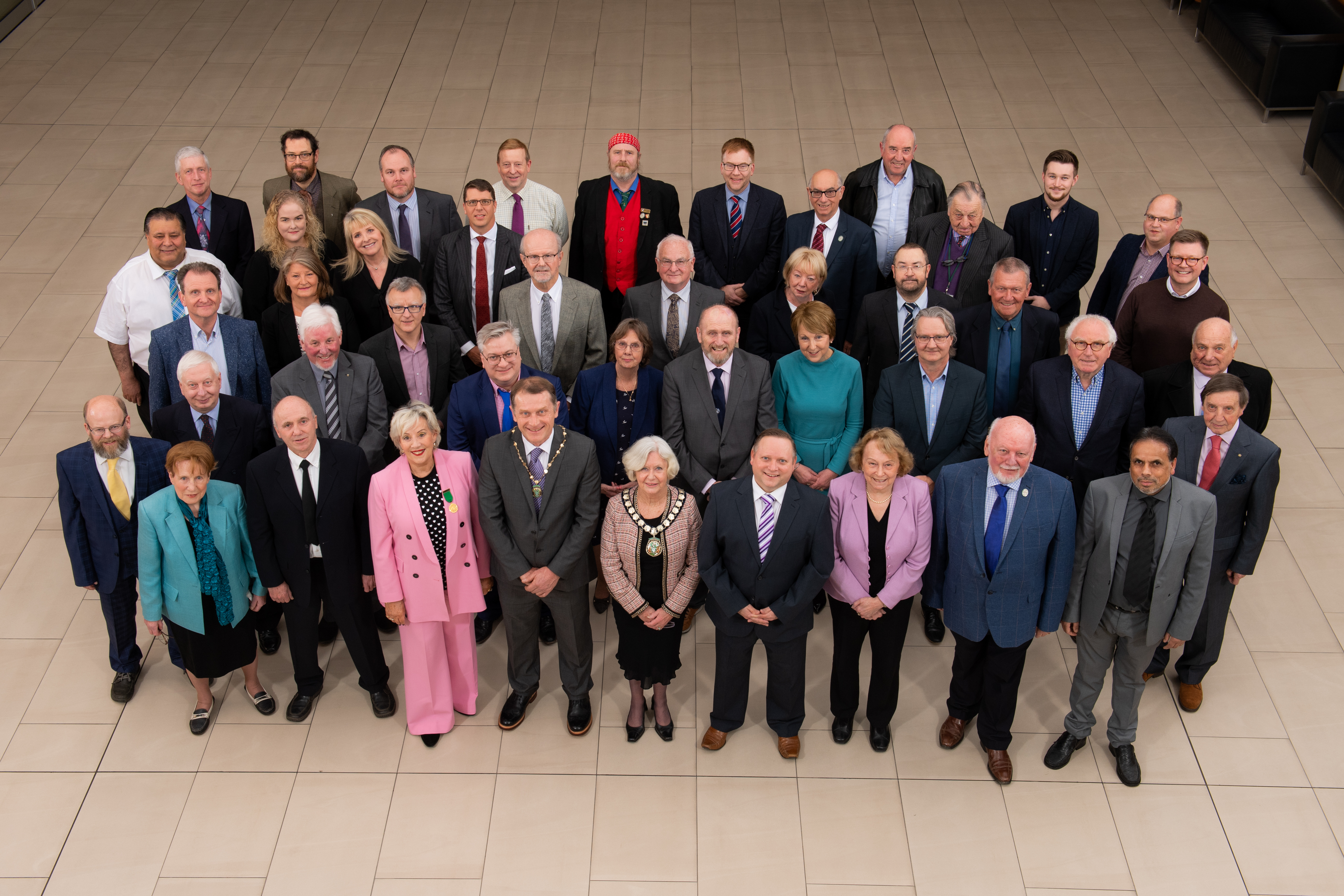 AVDC councillors gather before their meeting in February 2020